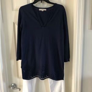 🆕🔆Loft navy blue tunic sweater, fine details, S